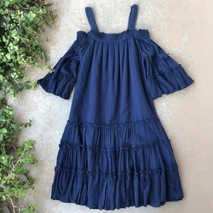 Romeo + Juliet Navy Boho Off Shoulder Dress
